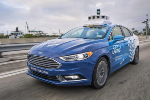 Ford Fusion self driving a Miami